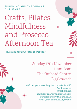 Crafts Pilates Mindfulness and Prosecco Afternoon Tea